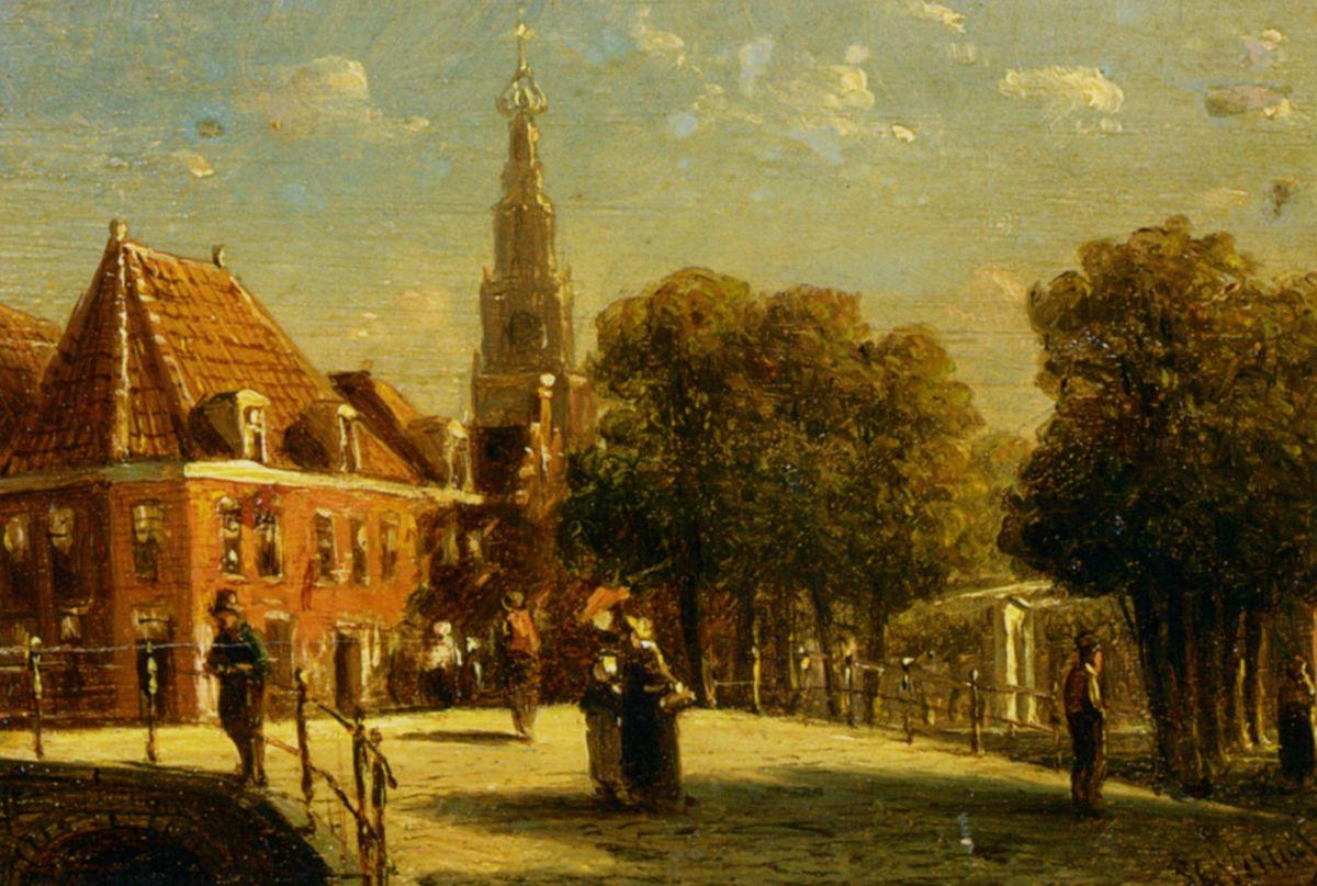 Figures on a bridge in Alkmaar by Pieter Gerard Vertin