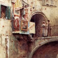 Figures on the Ponte dei Dadi, Venice by Walter Frederick Roofe Tyndale