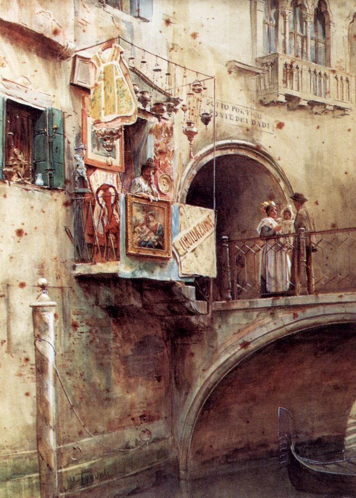 Figures on the Ponte dei Dadi Venice by Walter Frederick Roofe Tyndale