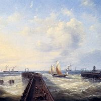 Fishing Boats Off A Jetty At Ostend by Louis Verboeckhoven