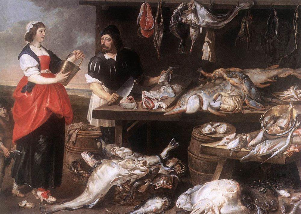 Fishmongers Stall by Adrian van Utrecht