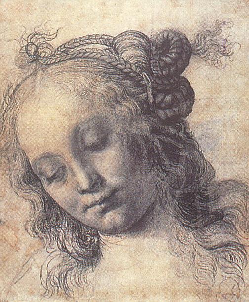 Head of a Girl study by Andrea del Verrocchio