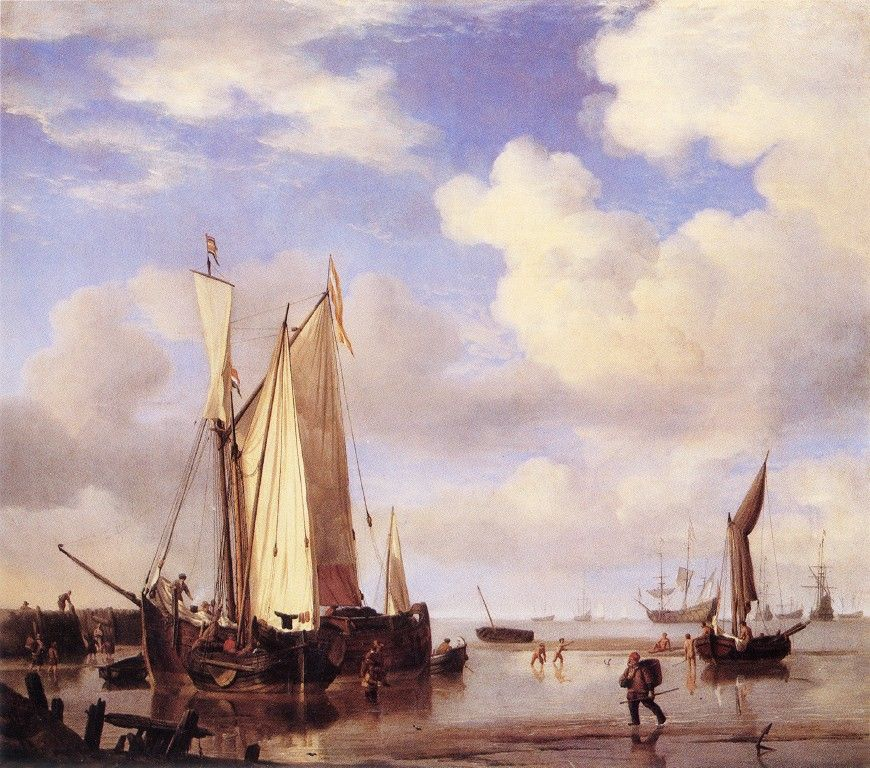 Ships Close Inshore at Low Tide by Willem van de Velde the Younger