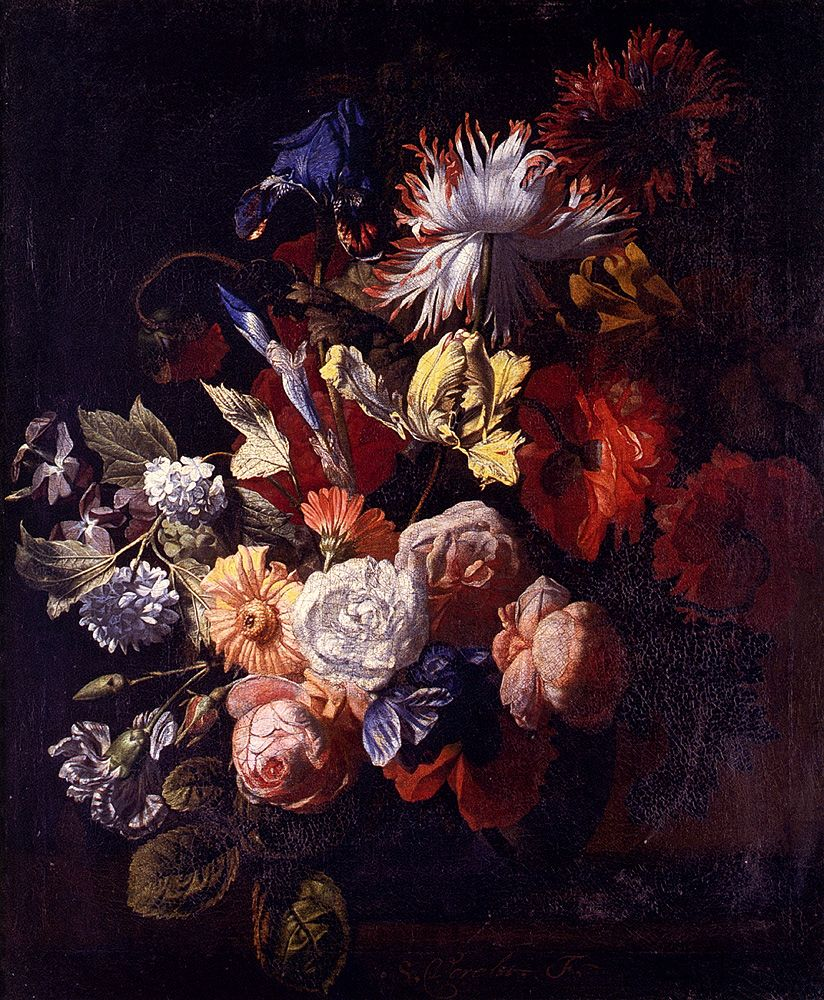 Still Life Of Irises Poppies Roses Tulips Peonies Snowballs And Other Flowers In A Vase On A Stone Ledge by Simon Pietersz Verelst