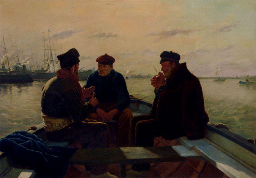 The Boatmen Of Barcelona by Dionisio Baixeras Y Verdaguer