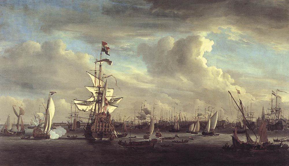 The Gouden Leeuw before Amsterdam by Willem van de Velde the Elder