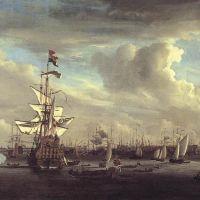 """The """"Gouden Leeuw"""" before Amsterdam by Willem van de Velde the Elder"""
