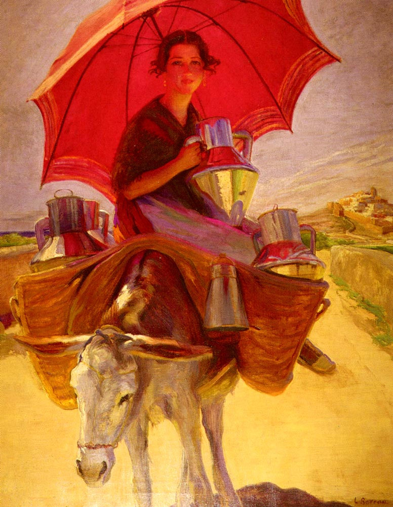 The Red Parasol by Laureano Barrau