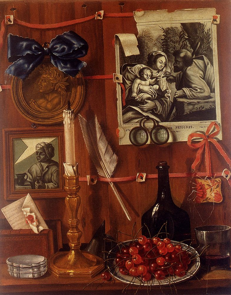 Trompe LOeil With A Basket Of Cherries On A Table And Engravings Tacked Up To A Wall by Jean Valette-Falgores