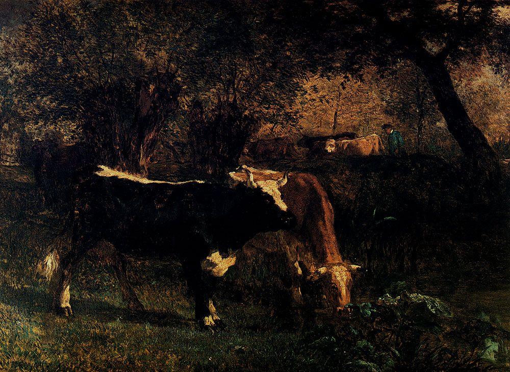 Vaches A LAbreuvoir by Constant Troyon