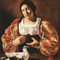 Woman with a Dove by Cecco Del Caravaggio