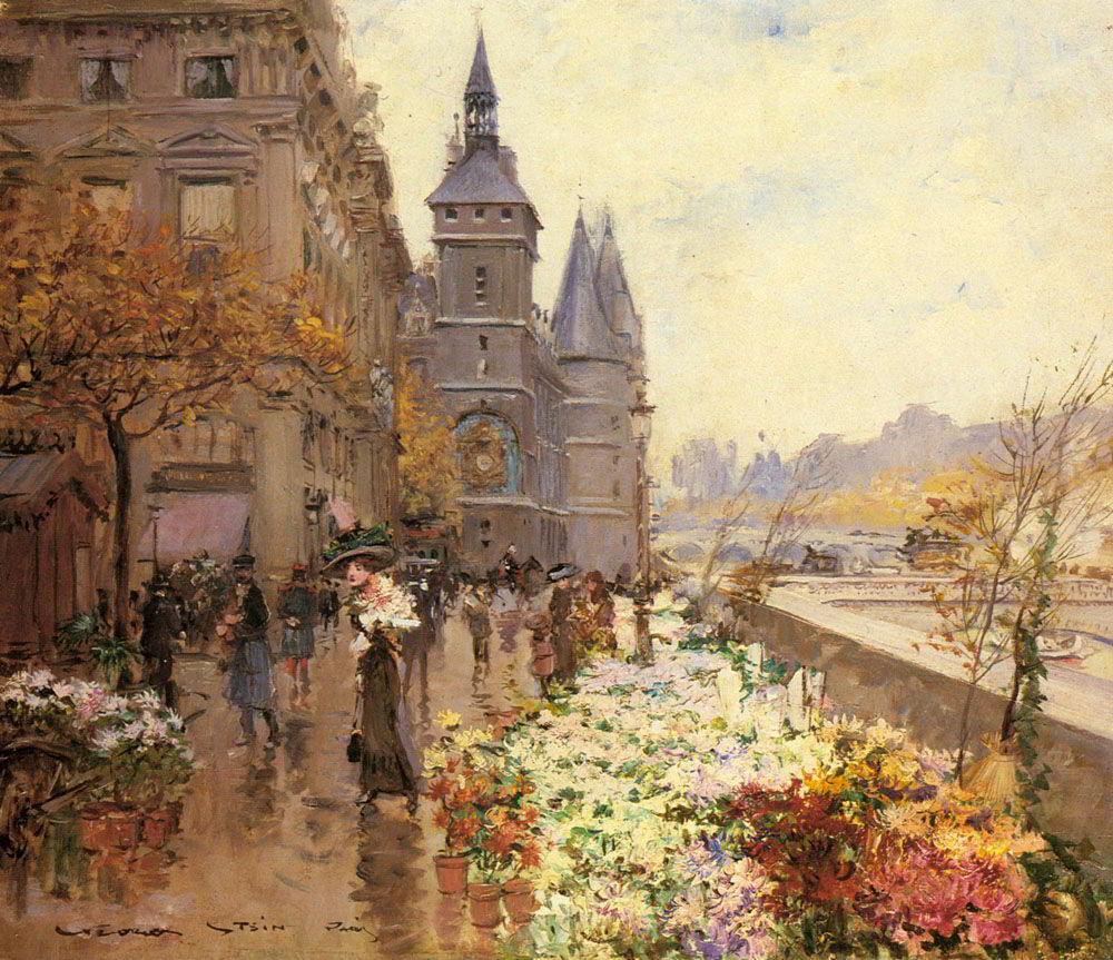 A Flower Market Along the Seine by Georges Stein