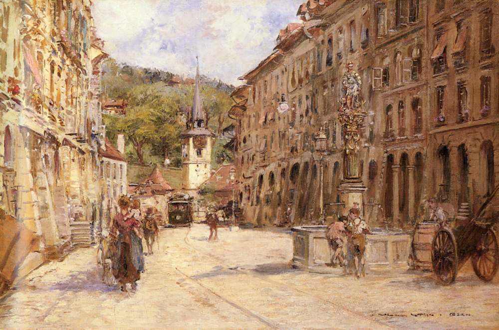 A Street Scene in Bern by Georges Stein