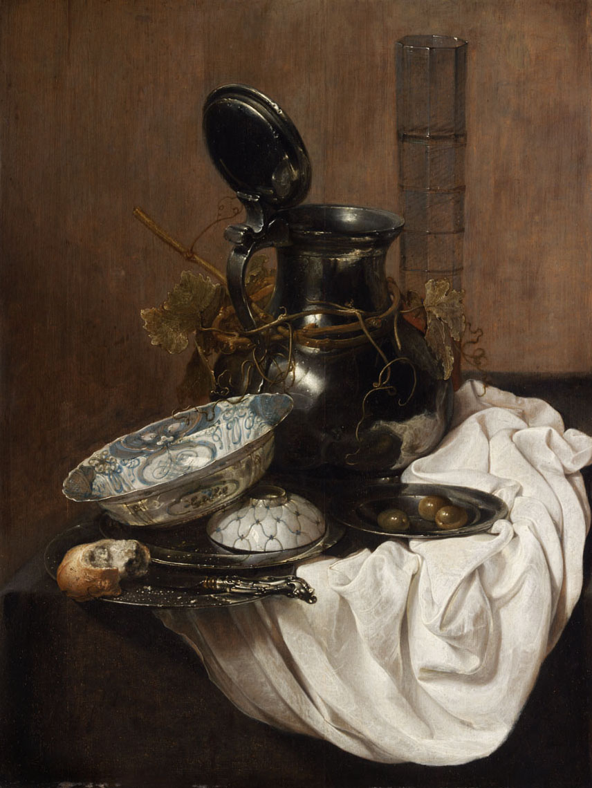 Still Life with Pewter Jug and Chinese Bowl by Jan Jansz. Treck