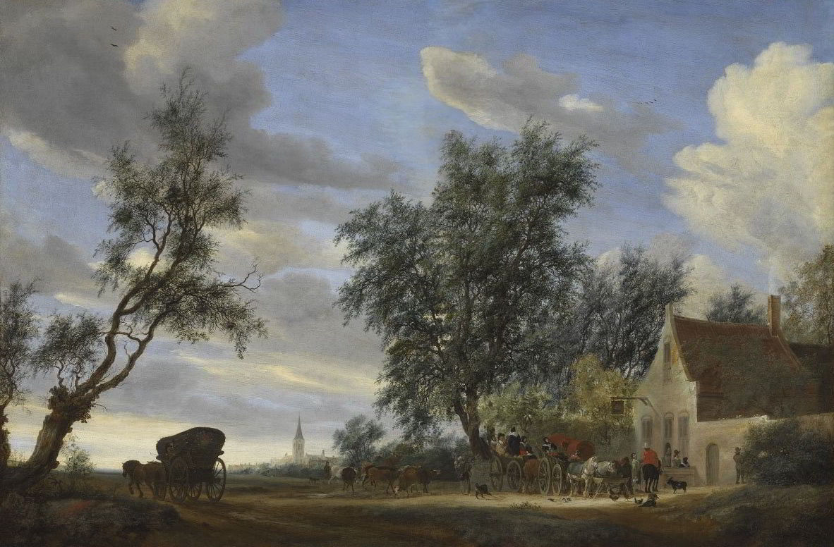 Travellers before an Inn with the View of Beverwijck by Salomon van Ruysdael