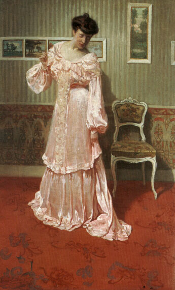 A Lady in a Pink Dress by Aime Stevens