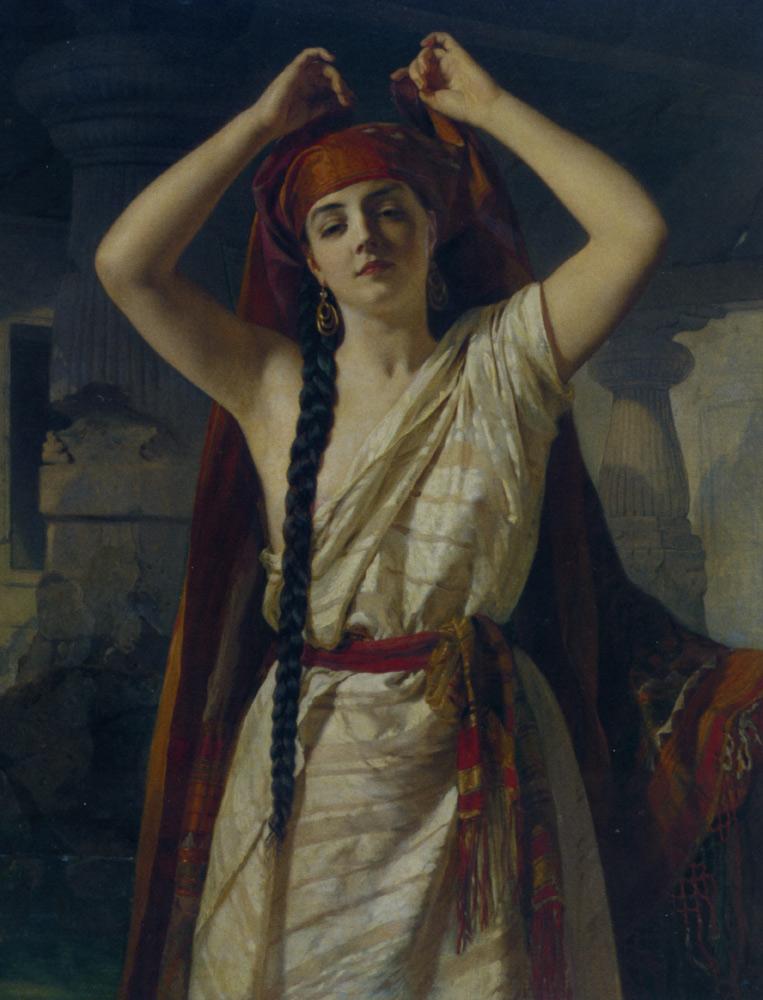 An Egyptian Girl Preparing for the Bath by Henri Guillaume Schlesinger
