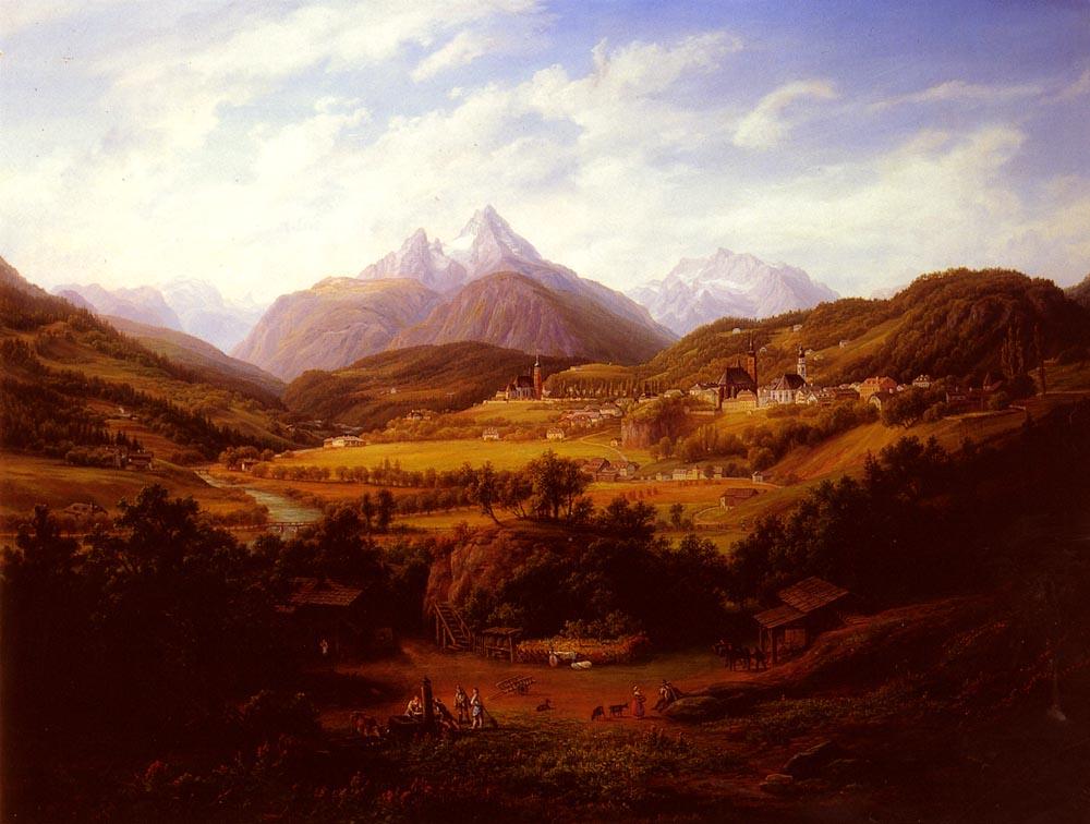 Berchtesgaden with the Watzmann Mountain in the distance by Anton Schiffer