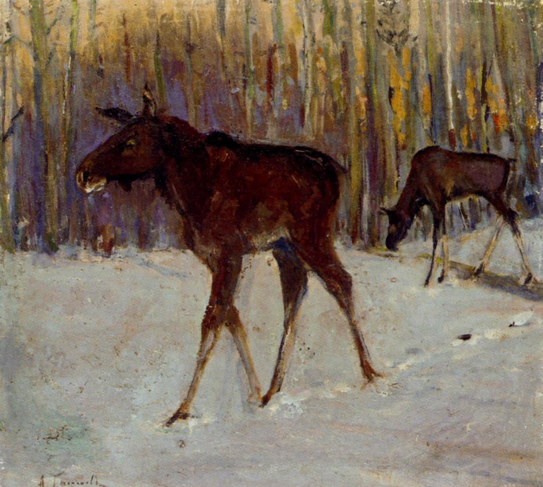 Elks In Winter Woodland by Aleksi Stepanovich Stepanov