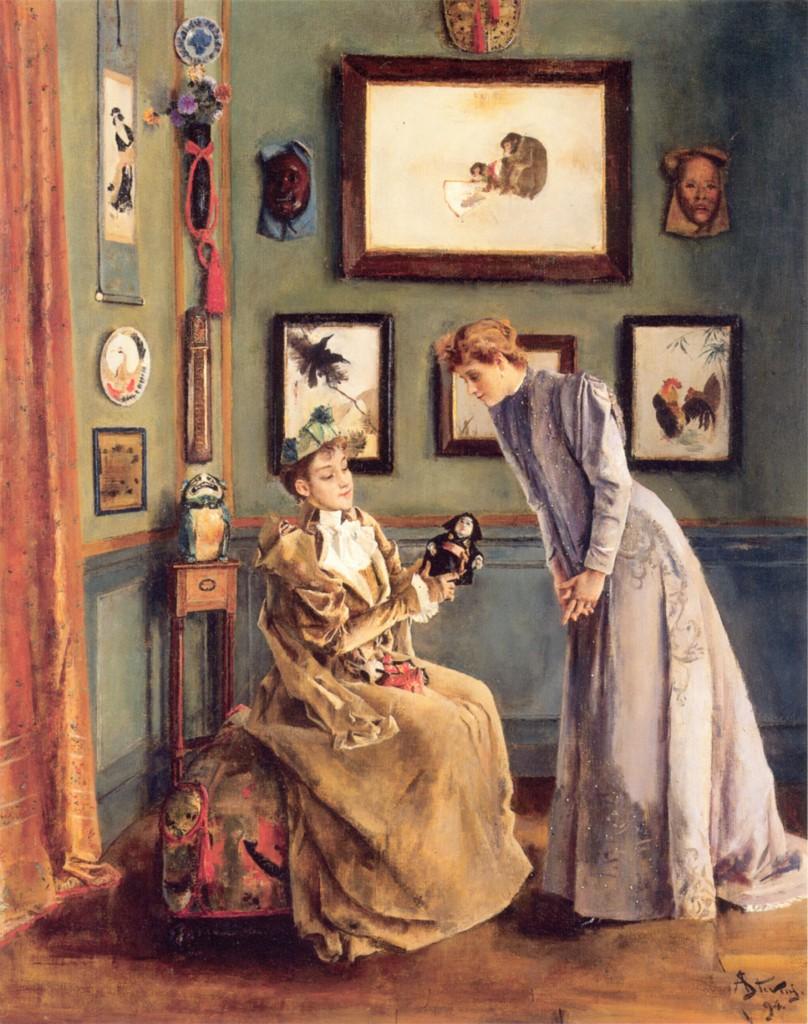Femme a la poupee japonaise by Alfred Stevens