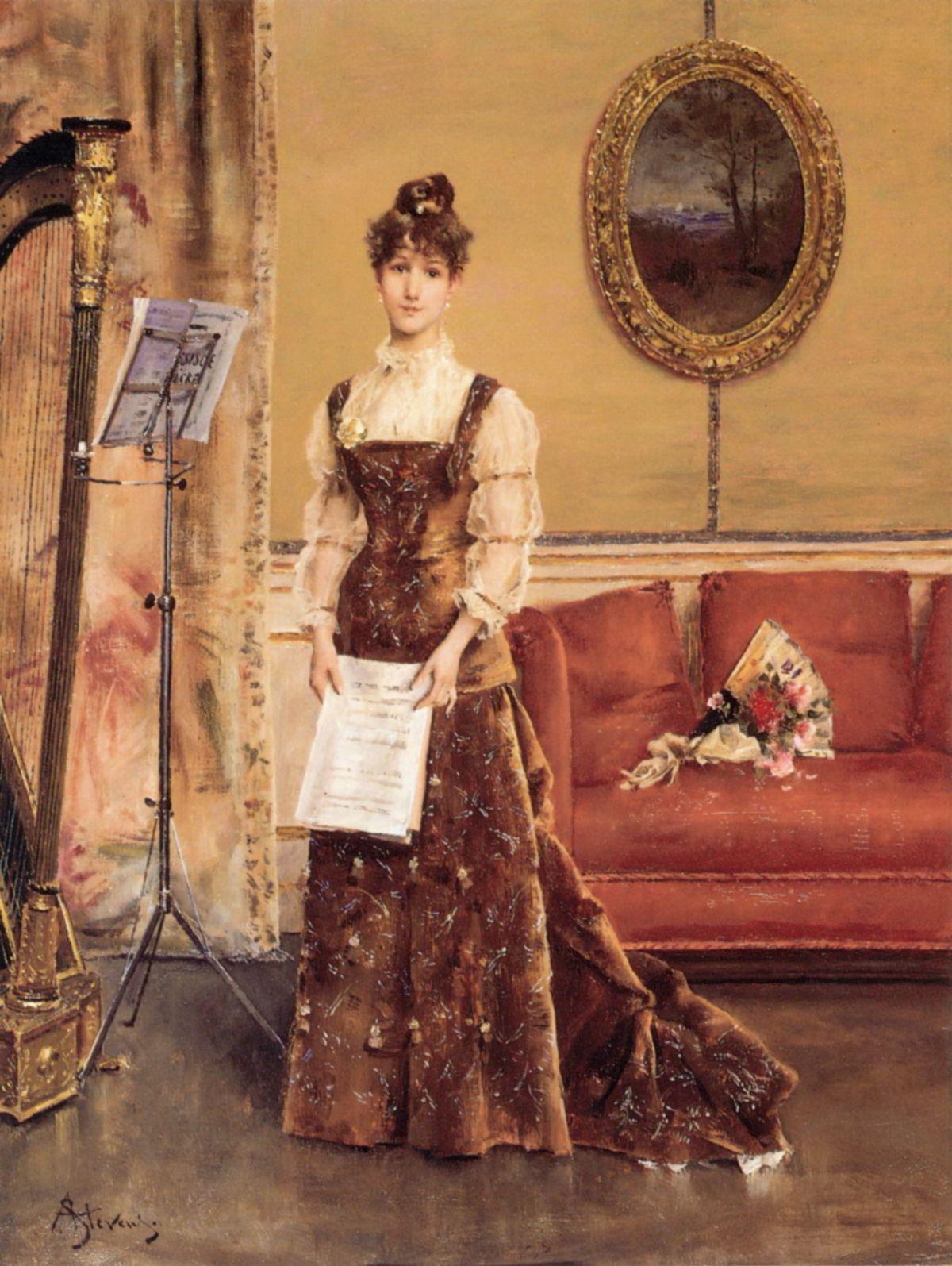 La Femme à la Harpe by Alfred Stevens