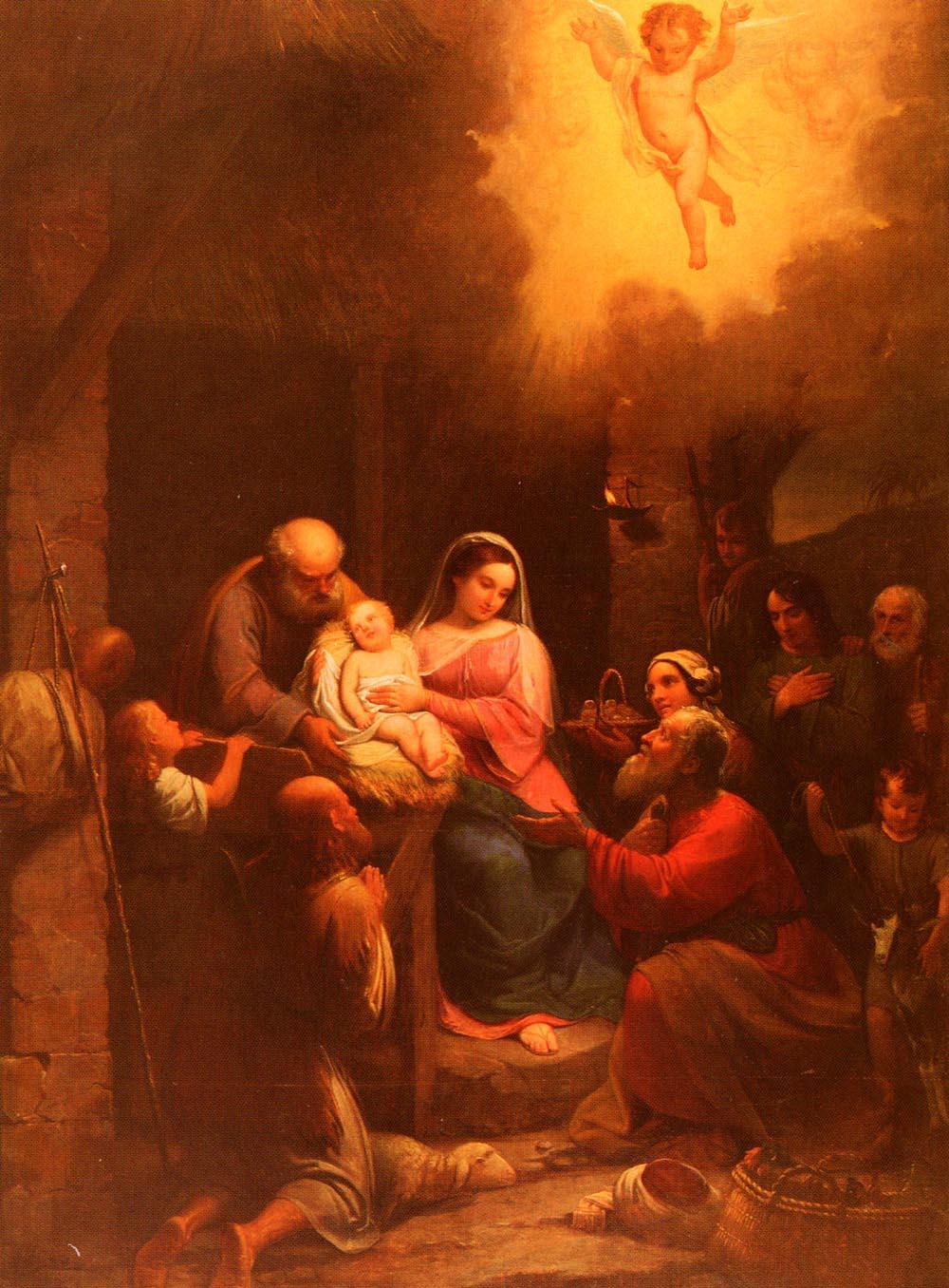 La Vista De' Pastori Al Bambino Gesu Nel Presepio by Natale Schiavoni