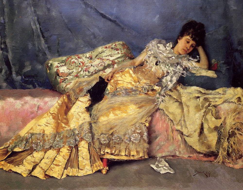 Lady On A Pink Divan by Julius LeBlanc Stewart