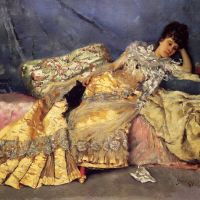 Lady On A Pink Divan by Julius LeBlanc Stewart