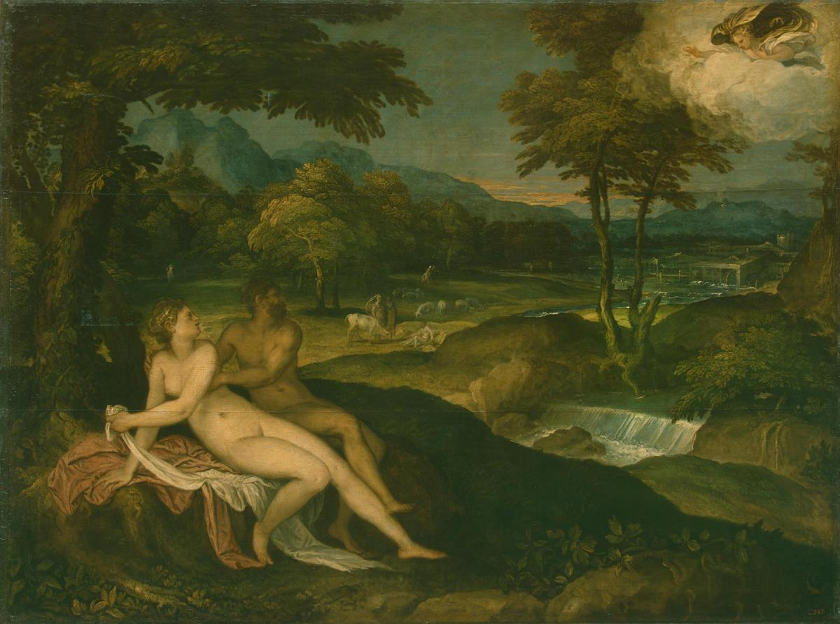 Landscape with Jupiter and Io by Lambert Sustris
