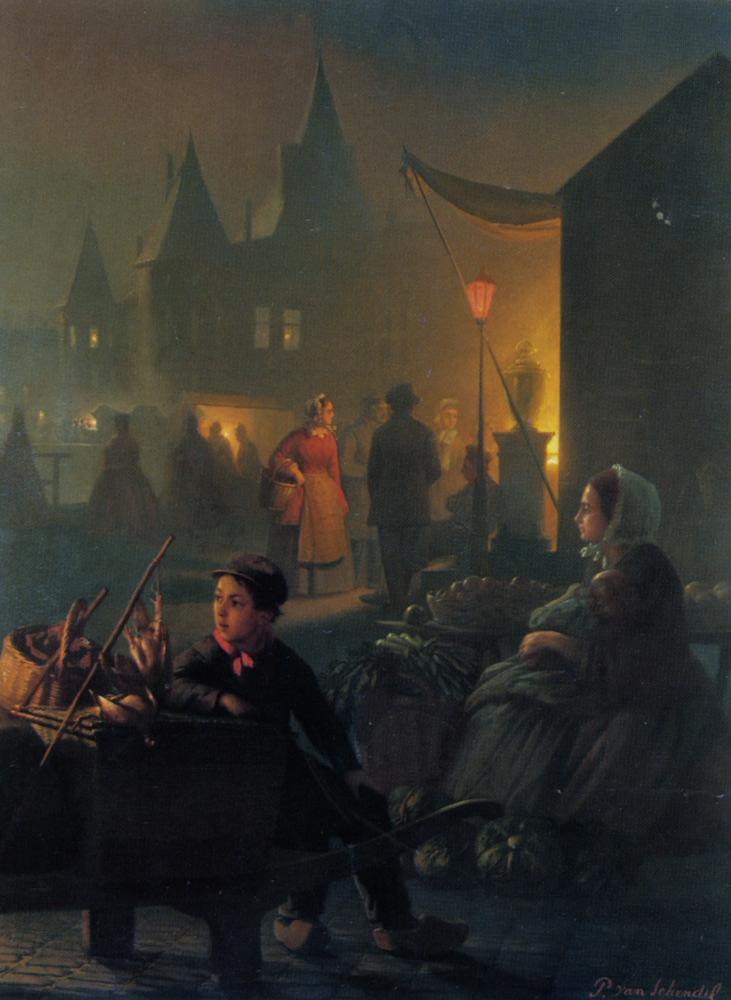 Petrus van Avondmarkt by Petrus Van Schendel