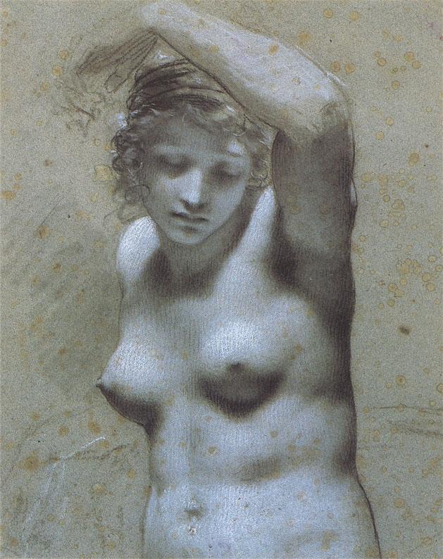Femme nue en buste by Pierre Paul Prudhon