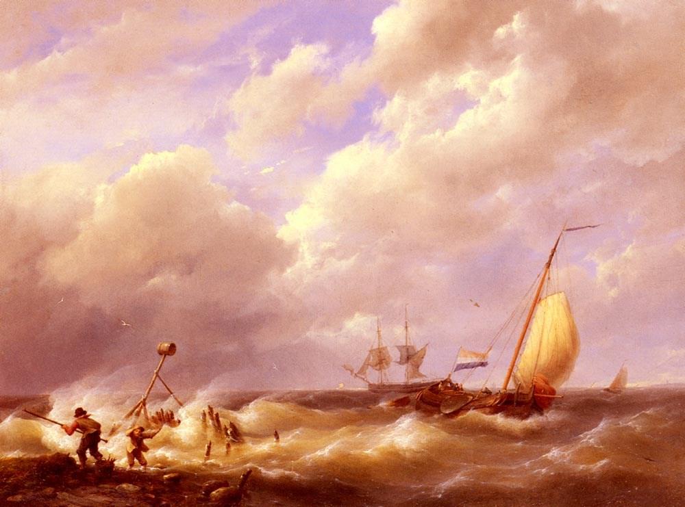 A Sea Piece by Hermanus Koekkoek Snr