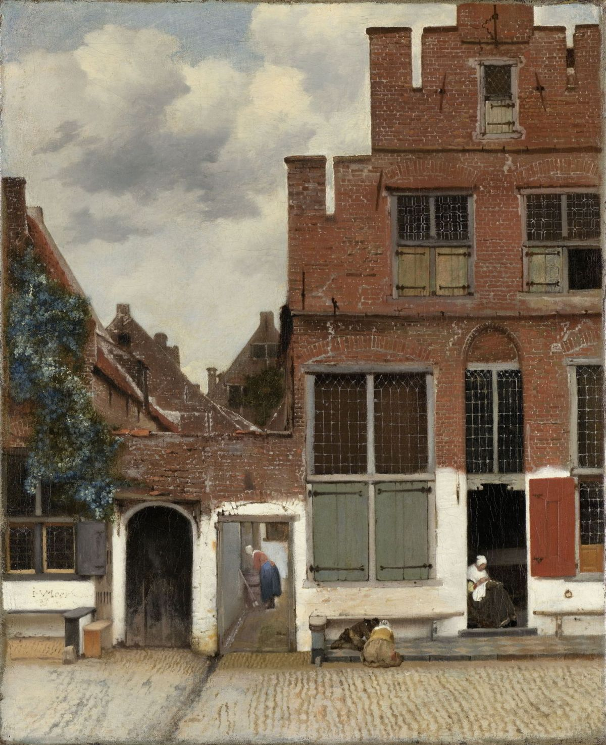 View of Houses in Delft Known as The Little Street by Johannes Vermeer