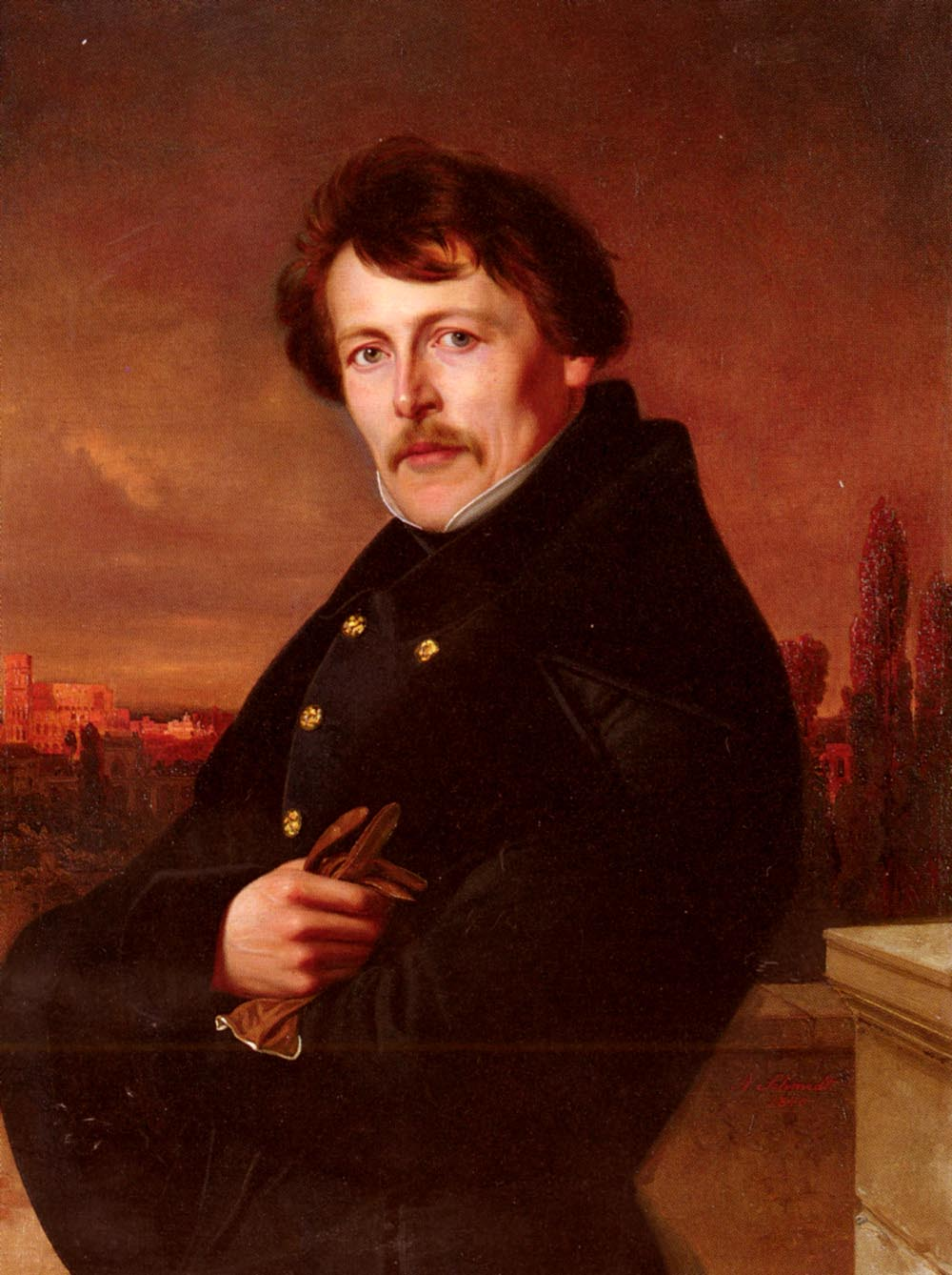 A Portrait Of A Gentleman, Rome In The Distance by Adolf Schmidt