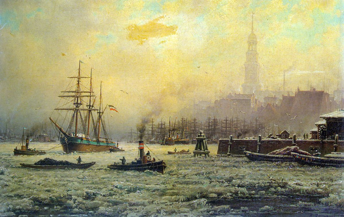 View of the Harbour of Hamburg in the Winter by Georg Schmitz