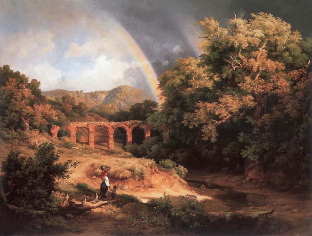 Italian Landscape with Viaduct and Rainbow by Karoly the Elder Marko