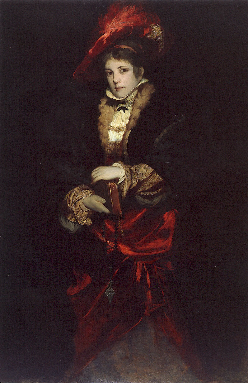 Portrait of a Lady with Red Plumed Hat by Hans Makart