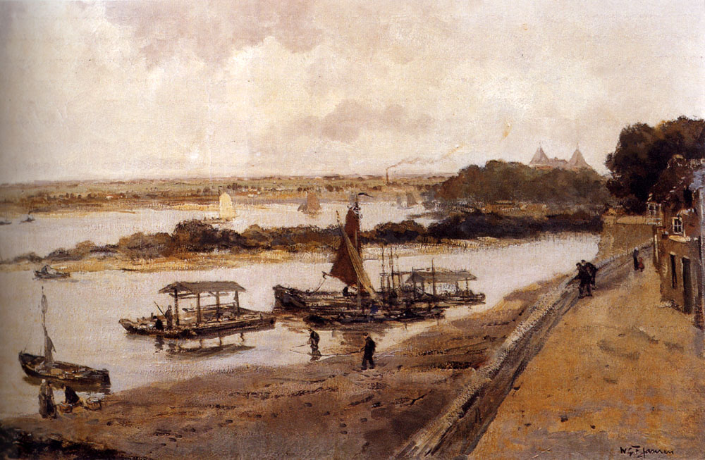 Shipping On The Waal Near Woudrichem, With Loevestein Castle Beyond by Willem George Frederik Jansen