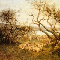 Tending The Flock In A Blossoming Landscape by Louis Aime Japy