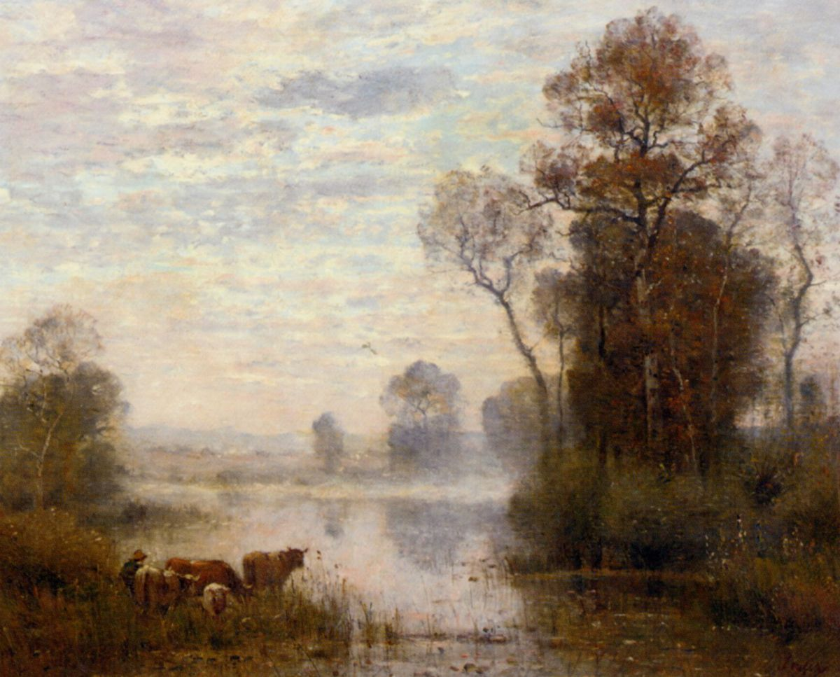 Vaches pres dun etang by Louis Aime Japy