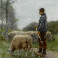 A Shepherd and His Flock by Anton Mauve