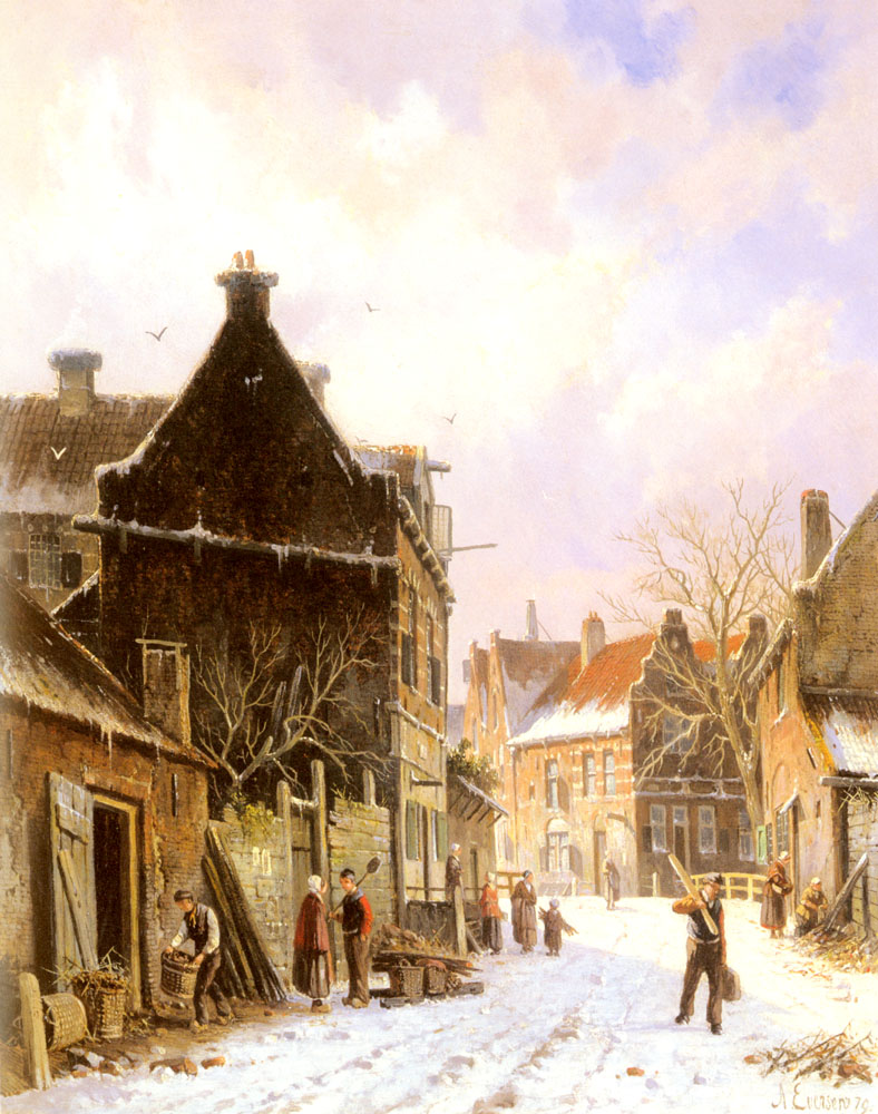 A Village Street Scene in Winter by Adrianus Eversen
