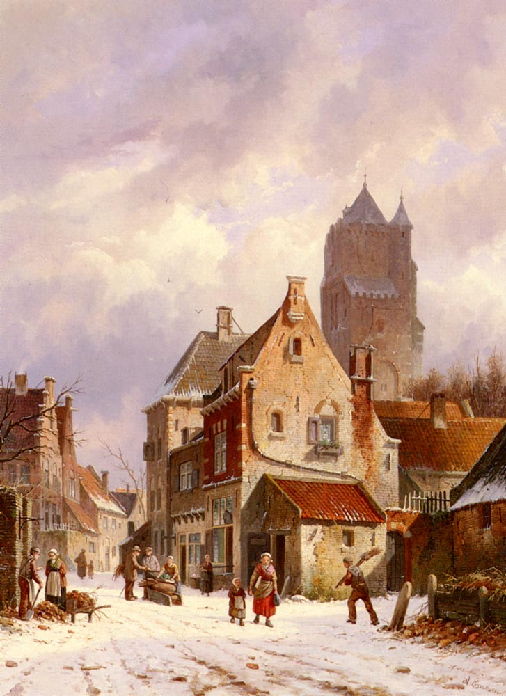 A Winter Street Scene by Adrianus Eversen