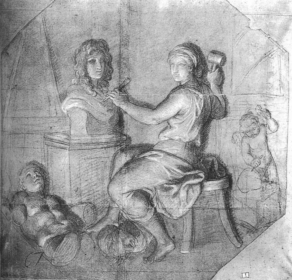 Allegory Sculpture Working on the Kings Bust by Charles Le Brun