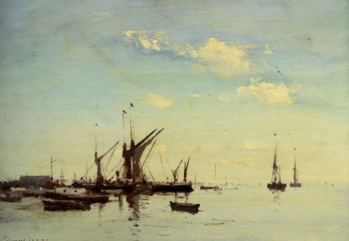 Barges in the Estuary by Edward Seago
