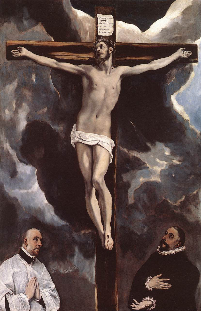 Christ on the Cross Adored by Donors by El Greco