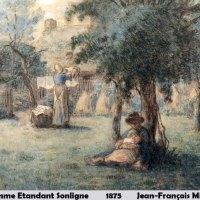 Femme Etandant Sonligne by Jean-Francois Millet