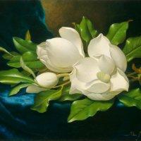 Giant Magnolias on a Blue Velvet Cloth by Martin Johnson Heade
