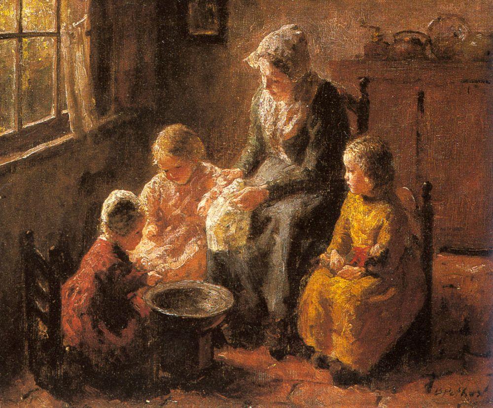 Mother and Children in an Interior by Bernard Jean Corneille Pothast