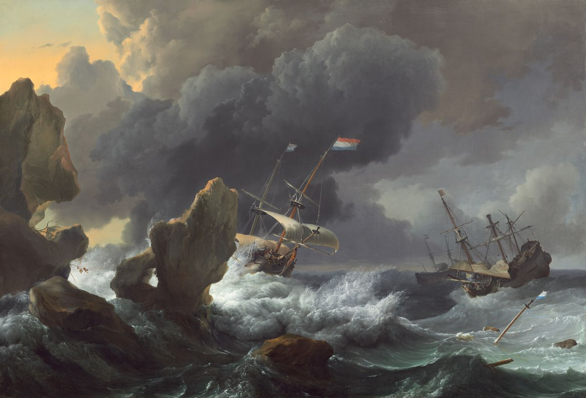 Ships in Distress off a Rocky Coast by Ludolf Backhuysen